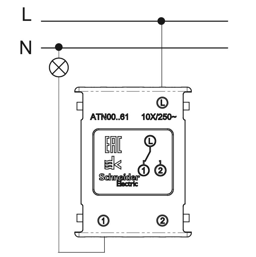 схема подключения одноклавишного проходного выключателя в режиме простого выключателя