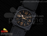BR 03-92 PVD Black Dial Gold Metal Markers