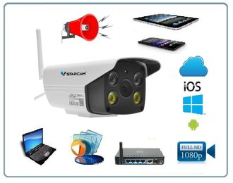 VStarcam. Уличная IP WiFi/LAN видеокамера с прожектором и сиреной с DVR, Full HD (до - 25)