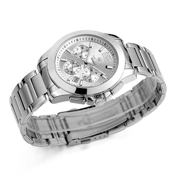 4e099948f225 MEGIR Мужские Кварцевые наручные часы с серебряным стальным браслетом