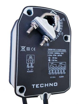 TECHNO S6061SC-2.5DF/24V, 2,5Nm, привод для воздушной заслонки с возвратной пружиной