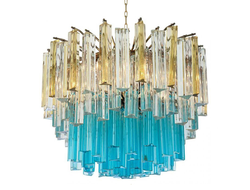 1960s Vintage Murano Glass Chandelier turquoise glass