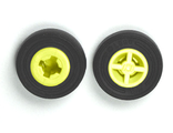 Wheel 8mm D. x 6mm with Black Tire 14mm D. x 4mm Smooth Small Single with Number Molded on Side 4624 / 59895, Yellow (4624c05)
