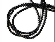 Бусины Агат черный, шар 3 мм, цена за 1 нить около 38 см, 125 шт. (вес 5 г) №18957