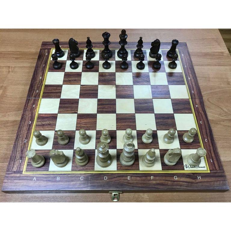 Шахматы Стаунтон №5 (фигуры c утяжелителем) в комплекте со складной деревянной доской 48 см