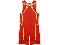 Трико сборной Украины Asics UWW Ukraine 2019 Wrestling Singlet 2081A016-600 Classic Red/Yellow
