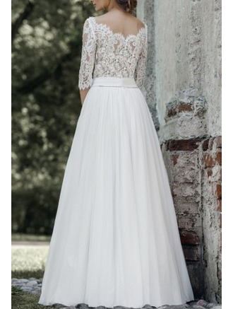 6cb33267c9f Свадебное платье с кружевным верхом и рукавами.В нашем интернет ...