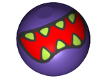 Technic, Ball Joint with Red Mouth and Lime Sharp Teeth Pattern, Dark Purple (32474pb012 / 6179436)