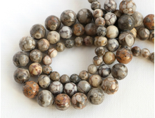 Бусины Окаменелость, ракушки каури (ракушечник), шар 6 мм, цена за 1 нить около 39 см, 64 шт (вес 22 г) №14125