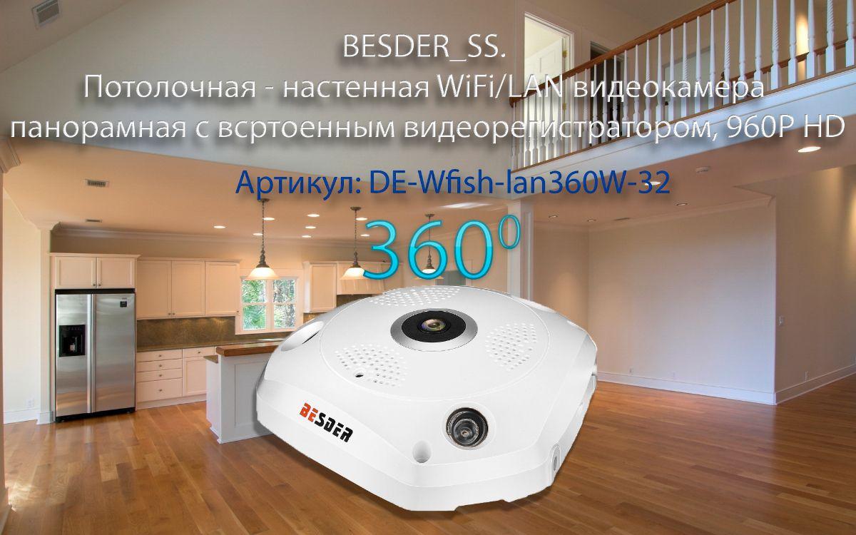 BESDER_SS. Потолочная - настенная WiFi/LAN видеокамера панорамная с DVR, 960P HD