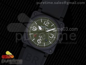 BR 03-92 PVD Green Dial on Black Rubber Strap