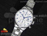 Carrera CAL1887 Chronograph SS White Dial Blue Marker