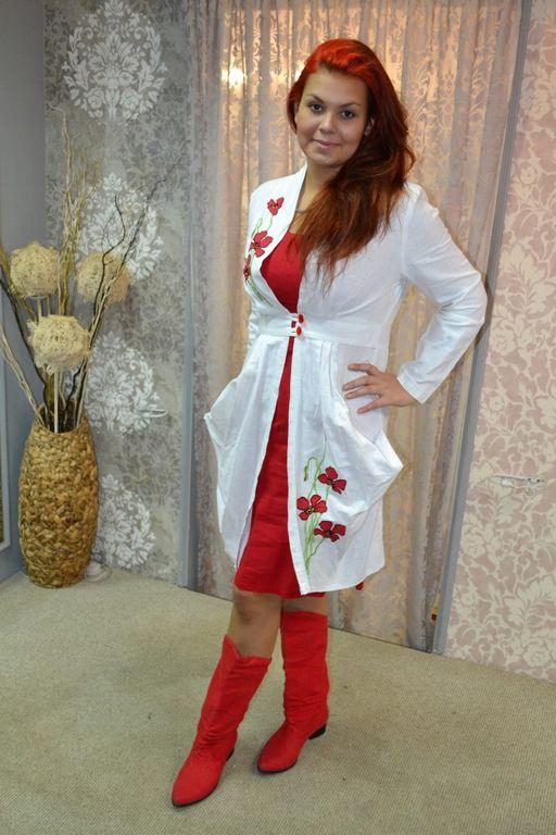 c74f5a5b53db948 Платье из белого льна с вышивкой Наталья Гайдаржи АРТ - ПВБ1011/НА ЗАКАЗ