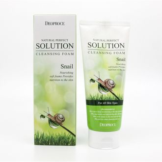Пенка для умывания улиточная  DEOPROCE NATURAL PERFECT SOLUTION CLEANSING FOAM SNAIL 170гр