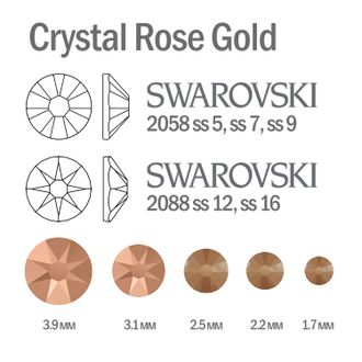 Мини-микс страз для маникюра Crystal Rose Gold - 30шт