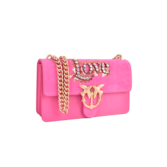 PINKO Love Leather Crystal Shoulder Bag Pink