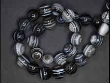 Бусина Агат черный, глазковый, полосатый, агатовый оникс, Ботсвана, шар 12 мм (1 шт) №19126
