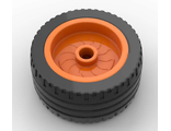 Wheel 18mm D. x 12mm with Axle Hole and Stud with Black Tire 24 x 12 Low 18976 / 18977, Orange (18976c01)