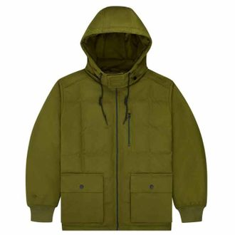 Куртка Converse Down Mid Length Coated Canvas Hooded Jacket зелёная