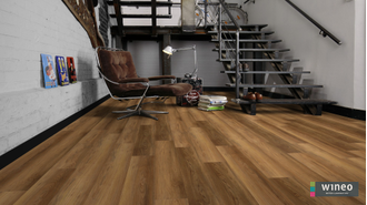 Виниловый пол Wineo 400 Wood Romance Oak Brilliant DB00119 в интерьере