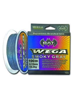 Плетеный шнур BAT WEGA SMOKY GRAY 100m  0,23/24.3kg