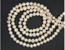 Бусины Жемчуг розовый, шар-овал 8*6 мм (1 шт.) №18962