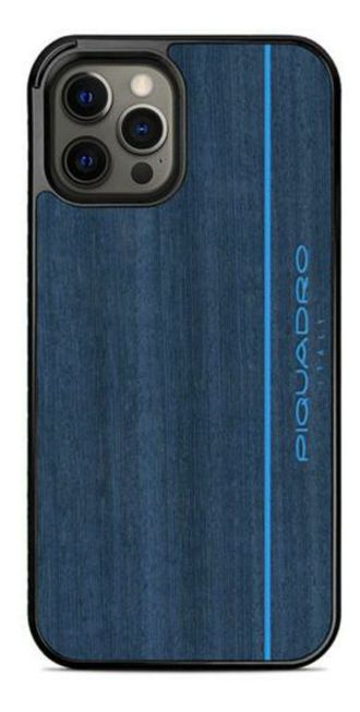 Чехол-накладка iPhone 12 Piquadro WoodEdition Blue