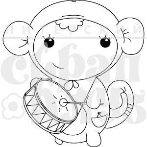 Штамп новогодний карнавальный костюм детский обезьянка с барабаном обезьяна