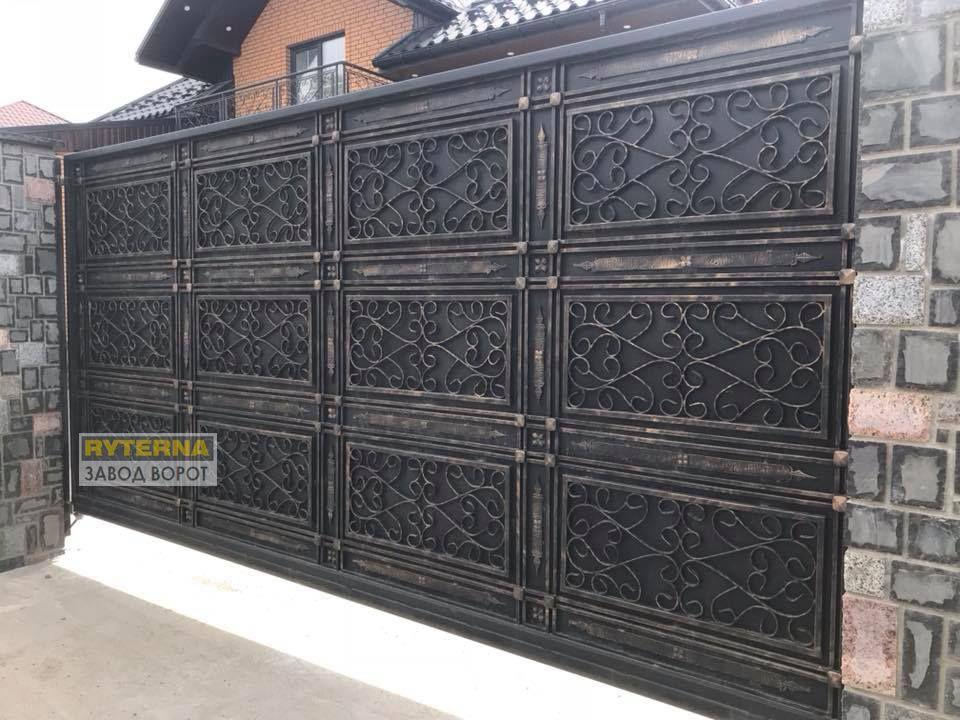 красивые ворота с элементами ковки - заказать - ОДЕССА, ДНЕПР, ХАРЬКОВ, КИЕВ