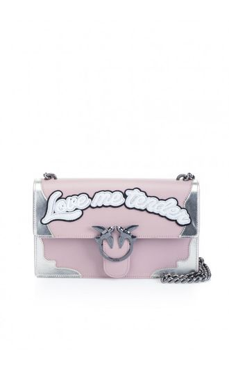 PINKO LOVE BAG WITH LETTERING PINK/SILVER