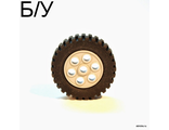 ! Б/У - Wheel 30mm D. x 13mm (13 x 24 Model Team), with Black Tire 13 x 24 Model Team (2695 / 2696), Light Bluish Gray (2695c01) - Б/У