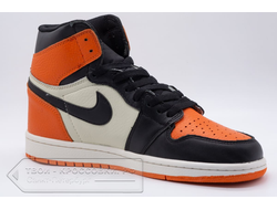 Кеды Air Jordan 1 Mid Black/Orange/Cream мужские арт. N789