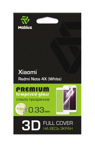 Защитное стекло Mobius для Xiaomi Redmi Note 4X 3D Full cover (White)