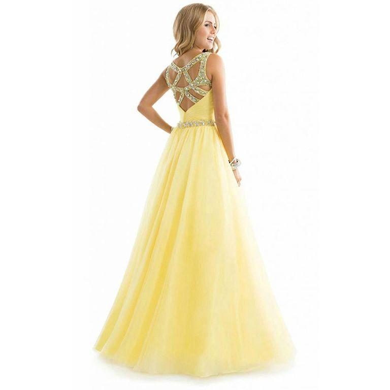 354d7db7d3c Вечернее выпускное платье из воздушного желтого шифона с блестящим ...