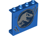 Panel 1 x 4 x 3 with Side Supports - Hollow Studs with Jurassic World Logo Pattern, Blue (60581pb098 / 6223116)