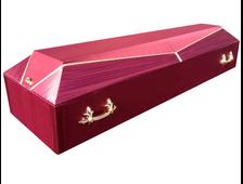 Гроб деревянный с тканевой отделкой Луч-4 бордо