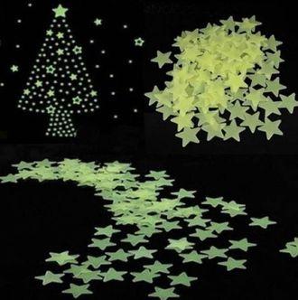 Светящиеся звезды на потолок и стены. 100 штук