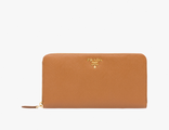 Prada Metallic Gold Wallet Caramel