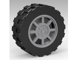 Wheel 11mm D. x 6mm with 8 Spokes with Black Tire 17.5mm D. x 6mm with Shallow Staggered Treads - Band Around Center of Tread  93593 / 92409, Light Bluish Gray (93593c02)