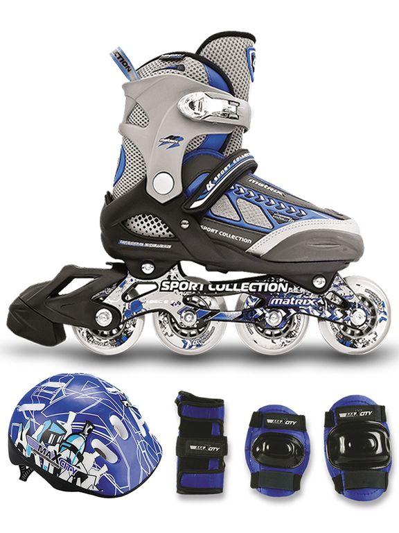 Набор ролики с защитой СК (Спортивная коллекция) MATRIX combo (синий)