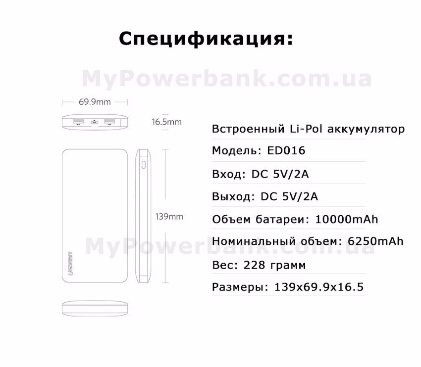 Powerbank Ugreen 10000mAh