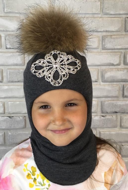 Арт. 755 Шлем зимний для девочек с натуральным помпоном