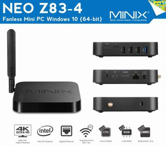 MiniX Neo Z83-4. Windows 10 Мини ПК. 4 Гб / 32 Гб. Intel Z8300. WiFi, LAN, HDMI, Bluetooth.