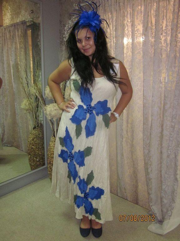 b54791aabe7ac87 Платье из белого льна с вышивкой Наталья Гайдаржи АРТ - ПВБ1012/НА ЗАКАЗ