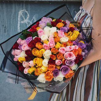 Букет из 101 розы микс  40 см