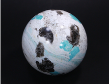 Шар Амазонит, Кварц дымчатый в породе, Россия, Кольский полуостров (105 мм, 1825 г) №17841