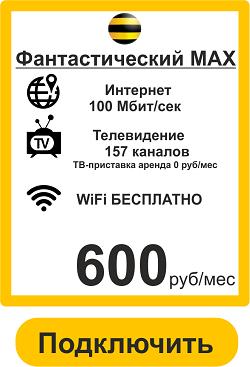 Подключить  Интернет,Телевидение в Волжском Билайн-Тариф Фантастический МАХ 100 Мбит+ТВ+WiFi Роутер
