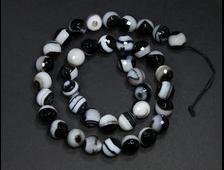 Бусины Агат черно-белый, тонированный, шар граненый 10 мм (1 шт) №19044