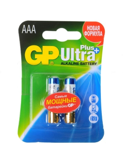 Батарейка AAA щелочная GP Ultra Plus Alkaline LR03 в блистере 2шт