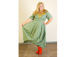 214f8e9985d9b4e Платье из зеленого льна с вышивкой Наталья Гайдаржи АРТ - ПВЗ1006/НА ЗАКАЗ